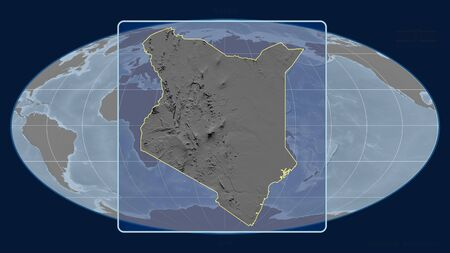 Zoomed-in view of Kenya outline with perspective lines against a global map in the Mollweide projection. Shape centered. grayscale elevation map