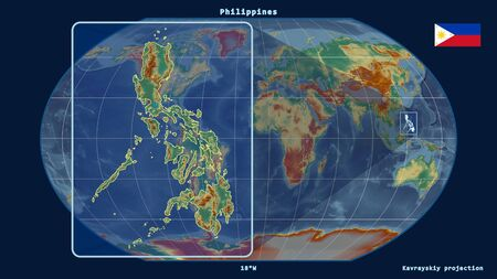 Zoomed-in view of Philippines outline with perspective lines against a global map in the Kavrayskiy projection. Shape on the left side. topographic relief map Фото со стока