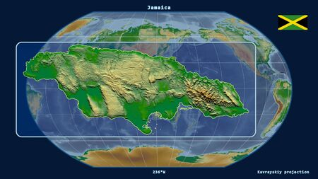 Zoomed-in view of Jamaica outline with perspective lines against a global map in the Kavrayskiy projection. Shape on the left side. color physical map Фото со стока