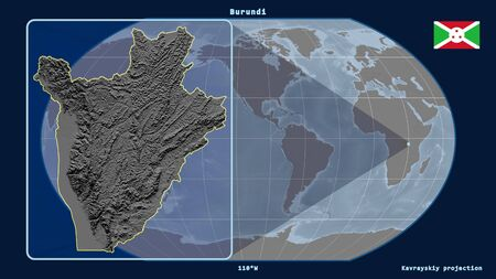 Zoomed-in view of Burundi outline with perspective lines against a global map in the Kavrayskiy projection. Shape on the left side. grayscale elevation map