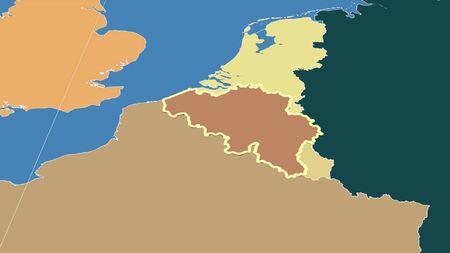 Belgium and its neighborhood. Distant oblique perspective - shape outlined. color map of administrative divisions