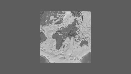 Square frame of the large-scale map of the world in an oblique Van der Grinten projection centered on the territory of United Arab Emirates. Bilevel elevation map
