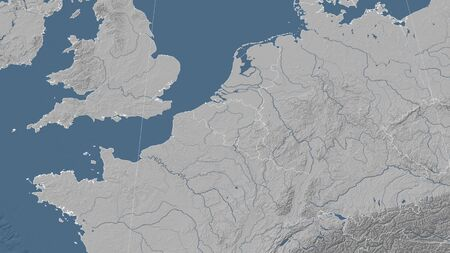 Belgium and its neighborhood. Distant oblique perspective - no outline. grayscale elevation map