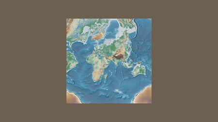 Square frame of the large-scale map of the world in an oblique Van der Grinten projection centered on the territory of United Arab Emirates. Color physical map 스톡 콘텐츠