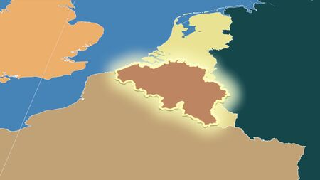 Belgium and its neighborhood. Distant oblique perspective - shape glowed. color map of administrative divisions