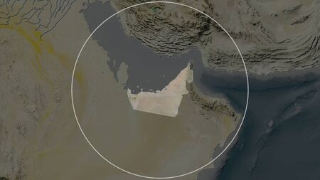 Enlarged area of United Arab Emirates surrounded by a circle on the background of its neighborhood. Satellite imagery
