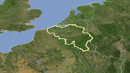 Belgium and its neighborhood. Distant oblique perspective - shape outlined. satellite imagery