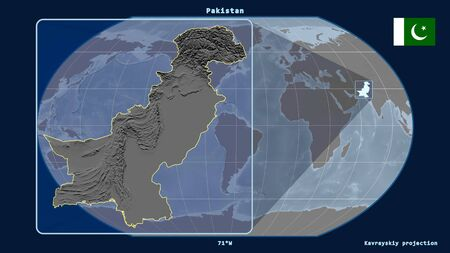 Zoomed-in view of Pakistan outline with perspective lines against a global map in the Kavrayskiy projection. Shape on the left side. grayscale elevation map