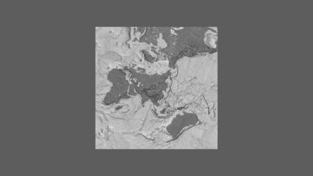 Square frame of the large-scale map of the world in an oblique Van der Grinten projection centered on the territory of Mongolia. Bilevel elevation map