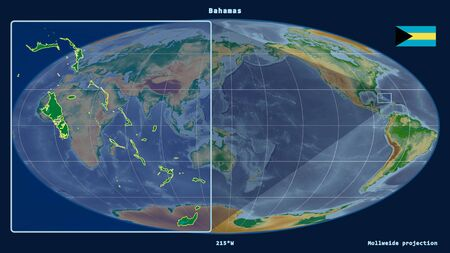 Zoomed-in view of Bahamas outline with perspective lines against a global map in the Mollweide projection. Shape on the left side. color physical map