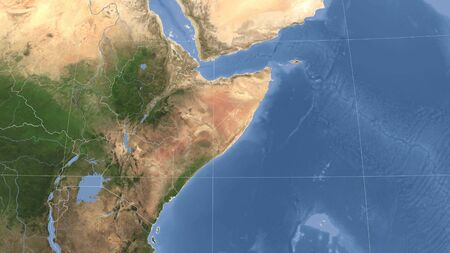 Somalia and its neighborhood. Distant oblique perspective - no outline. satellite imagery