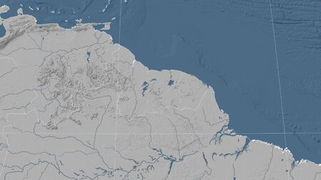 Suriname and its neighborhood. Distant oblique perspective - no outline. grayscale elevation map Stock fotó