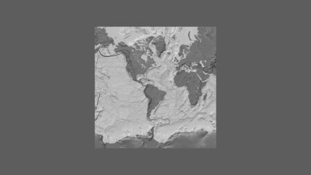 Square frame of the large-scale map of the world in an oblique Van der Grinten projection centered on the territory of Suriname. Bilevel elevation map