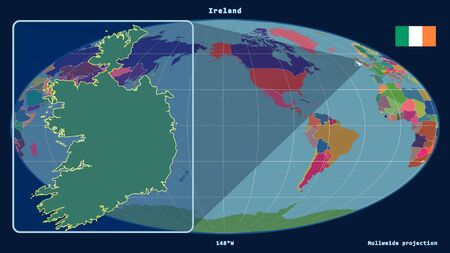 Zoomed-in view of Ireland outline with perspective lines against a global map in the Mollweide projection. Shape on the left side. color map of administrative divisions