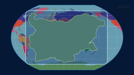 Zoomed-in view of Bulgaria outline with perspective lines against a global map in the Kavrayskiy projection. Shape centered. color map of administrative divisions