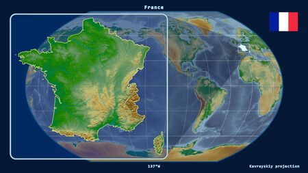 Zoomed-in view of France outline with perspective lines against a global map in the Kavrayskiy projection. Shape on the left side. color physical map