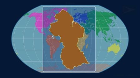 Zoomed-in view of Guyana outline with perspective lines against a global map in the Kavrayskiy projection. Shape centered. color map of continents Stock fotó