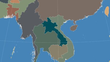 Laos and its neighborhood. Distant oblique perspective - no outline. color map of administrative divisions