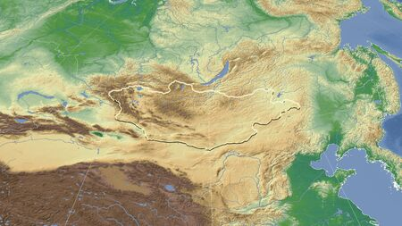 Mongolia and its neighborhood. Distant oblique perspective - shape outlined. color physical map