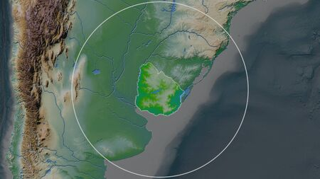 Enlarged area of Uruguay surrounded by a circle on the background of its neighborhood. Color physical map