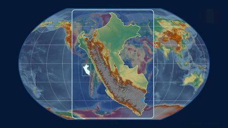 Zoomed-in view of Peru outline with perspective lines against a global map in the Kavrayskiy projection. Shape centered. topographic relief map