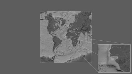 Expanded and enlarged area of Guinea-Bissau extracted from the large-scale map of the world with leading lines connecting the corners of the frames. Bilevel elevation map Stock fotó