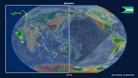 Zoomed-in view of Bahamas outline with perspective lines against a global map in the Kavrayskiy projection. Shape on the left side. color physical map