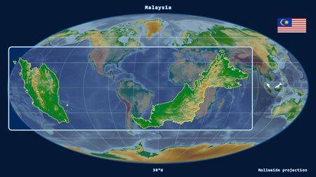 Zoomed-in view of Malaysia outline with perspective lines against a global map in the Mollweide projection. Shape on the left side. color physical map