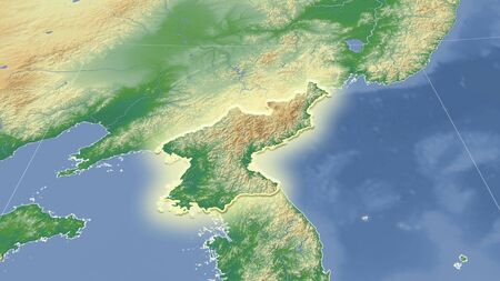 North Korea and its neighborhood. Distant oblique perspective - shape glowed. color physical map Stock fotó