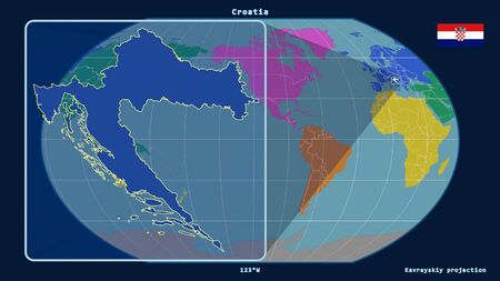 Zoomed-in view of Croatia outline with perspective lines against a global map in the Kavrayskiy projection. Shape on the left side. color map of continents Stock fotó