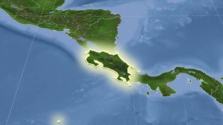 Costa Rica and its neighborhood. Distant oblique perspective - shape glowed. satellite imagery Stock fotó