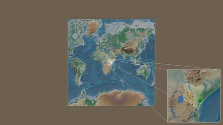 Expanded and enlarged area of Kenya extracted from the large-scale map of the world with leading lines connecting the corners of the frames. Color physical map Stock fotó