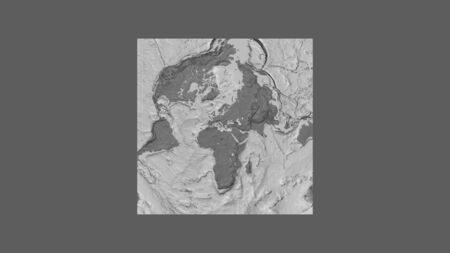 Square frame of the large-scale map of the world in an oblique Van der Grinten projection centered on the territory of Greece. Bilevel elevation map Stock fotó