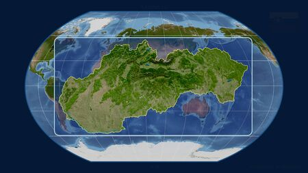 Zoomed-in view of Slovakia outline with perspective lines against a global map in the Kavrayskiy projection. Shape centered. satellite imagery Stock fotó