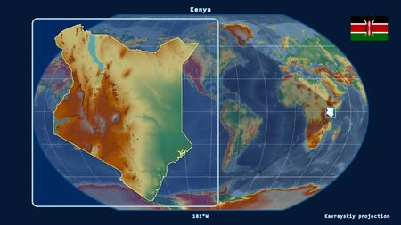 Zoomed-in view of Kenya outline with perspective lines against a global map in the Kavrayskiy projection. Shape on the left side. topographic relief map