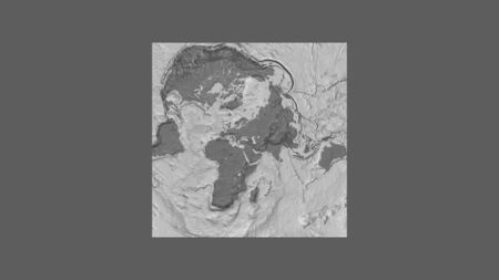 Square frame of the large-scale map of the world in an oblique Van der Grinten projection centered on the territory of Georgia. Bilevel elevation map Stock fotó