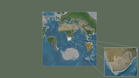 Expanded and enlarged area of South Africa extracted from the large-scale map of the world with leading lines connecting the corners of the frames. Satellite imagery