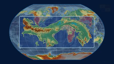 Zoomed-in view of Panama outline with perspective lines against a global map in the Kavrayskiy projection. Shape centered. topographic relief map