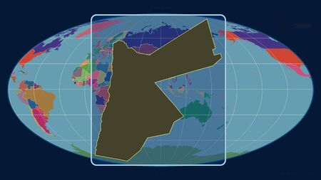Zoomed-in view of Jordan outline with perspective lines against a global map in the Mollweide projection. Shape centered. color map of administrative divisions