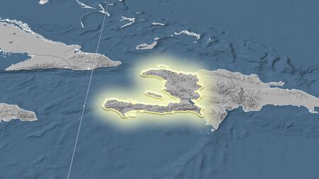 Haiti and its neighborhood. Distant oblique perspective - shape glowed. grayscale elevation map