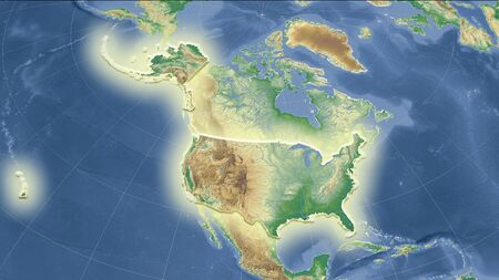 United States and its neighborhood. Distant oblique perspective - shape glowed. color physical map