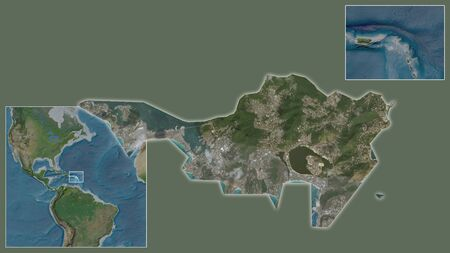 Close-up of Sint Maarten and its location in the region and in the center of a large-scale world map. Satellite imagery Stock fotó