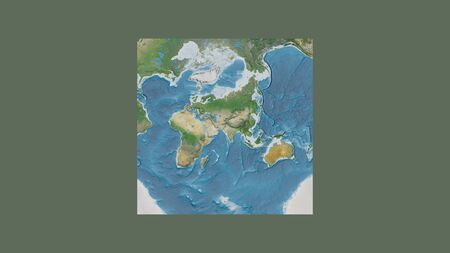 Square frame of the large-scale map of the world in an oblique Van der Grinten projection centered on the territory of Pakistan. Satellite imagery Stock fotó