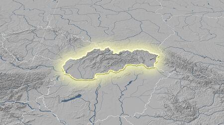 Slovakia and its neighborhood. Distant oblique perspective - shape glowed. grayscale elevation map