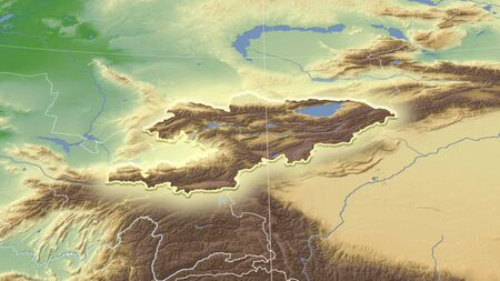 Kyrgyzstan and its neighborhood. Distant oblique perspective - shape glowed. color physical map