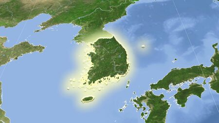 South Korea and its neighborhood. Distant oblique perspective - shape glowed. satellite imagery