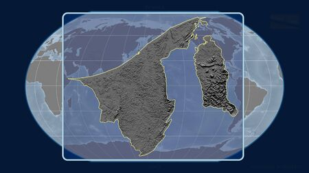 Zoomed-in view of Brunei outline with perspective lines against a global map in the Kavrayskiy projection. Shape centered. grayscale elevation map