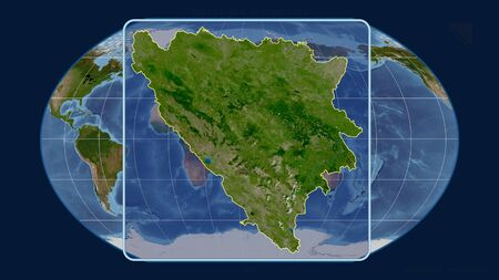 Zoomed-in view of Bosnia And Herzegovina outline with perspective lines against a global map in the Kavrayskiy projection. Shape centered. satellite imagery