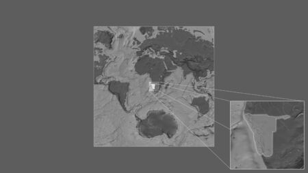 Expanded and enlarged area of Namibia extracted from the large-scale map of the world with leading lines connecting the corners of the frames. Bilevel elevation map
