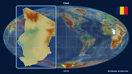 Zoomed-in view of Chad outline with perspective lines against a global map in the Mollweide projection. Shape on the left side. topographic relief map